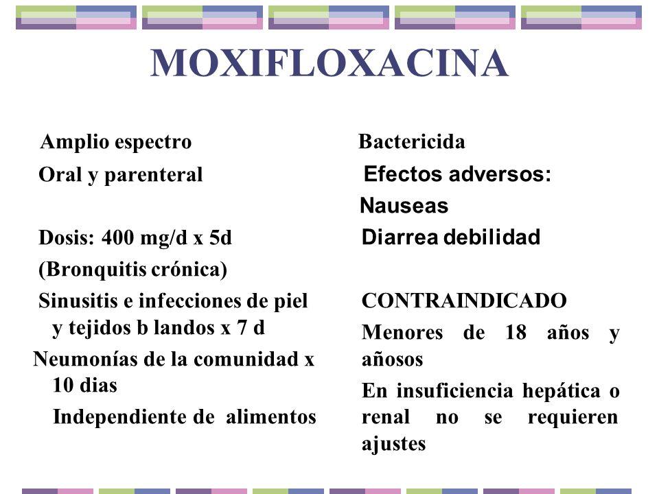 MOXIFLOXACINA Amplio espectro Oral y parenteral Dosis: 400 mg/d x 5d (Bronquitis crónica) Sinusitis e infecciones de piel y tejidos b landos x 7 d Neu
