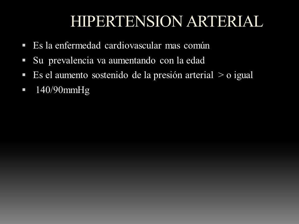 HIPERTENSION ARTERIAL Es la enfermedad cardiovascular mas común Su prevalencia va aumentando con la edad Es el aumento sostenido de la presión arteria