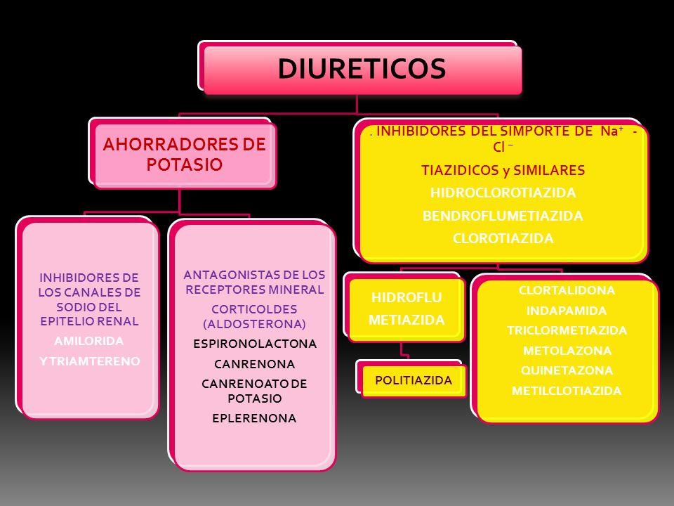 DIURETICOS AHORRADORES DE POTASIO INHIBIDORES DE LOS CANALES DE SODIO DEL EPITELIO RENAL AMILORIDA Y TRIAMTERENO ANTAGONISTAS DE LOS RECEPTORES MINERA