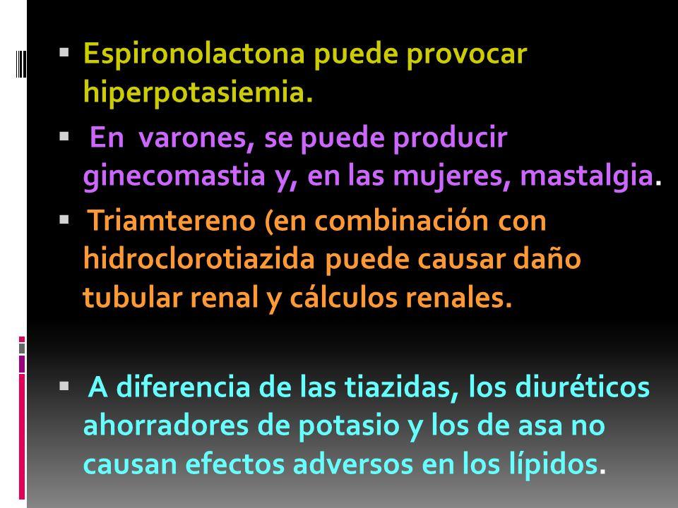 Espironolactona puede provocar hiperpotasiemia. En varones, se puede producir ginecomastia y, en las mujeres, mastalgia. Triamtereno (en combinación c