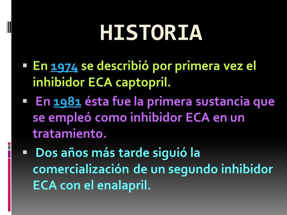 HISTORIA En 1974 se describió por primera vez el inhibidor ECA captopril.1974 En 1981 ésta fue la primera sustancia que se empleó como inhibidor ECA e