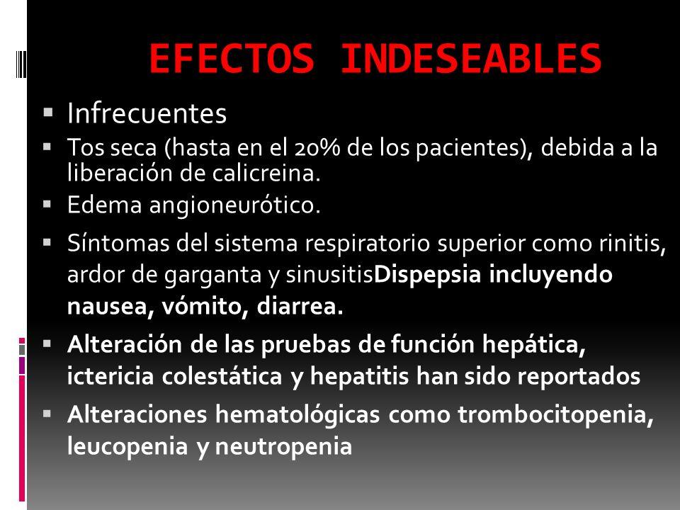 EFECTOS INDESEABLES Infrecuentes Tos seca (hasta en el 20% de los pacientes), debida a la liberación de calicreina. Edema angioneurótico. Síntomas del