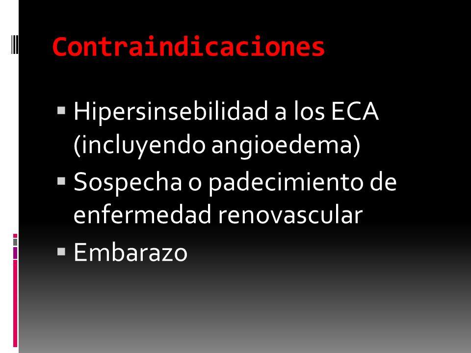Contraindicaciones Hipersinsebilidad a los ECA (incluyendo angioedema) Sospecha o padecimiento de enfermedad renovascular Embarazo