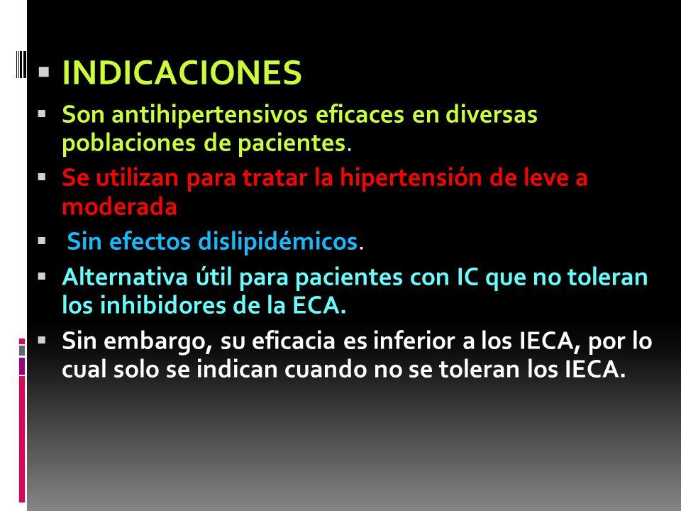INDICACIONES Son antihipertensivos eficaces en diversas poblaciones de pacientes. Se utilizan para tratar la hipertensión de leve a moderada Sin efect