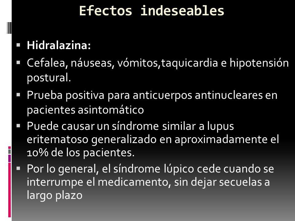 Efectos indeseables Hidralazina: Cefalea, náuseas, vómitos,taquicardia e hipotensión postural. Prueba positiva para anticuerpos antinucleares en paci