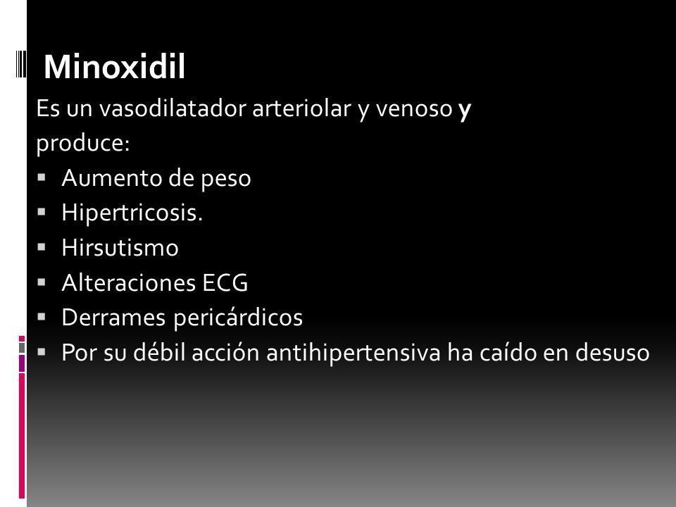 Minoxidil Es un vasodilatador arteriolar y venoso y produce: Aumento de peso Hipertricosis. Hirsutismo Alteraciones ECG Derrames pericárdicos Por su d