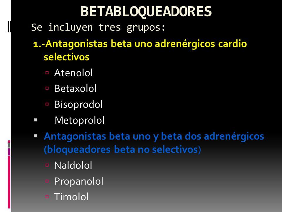 BETABLOQUEADORES Se incluyen tres grupos: 1.-Antagonistas beta uno adrenérgicos cardio selectivos Atenolol Betaxolol Bisoprodol Metoprolol Antagonista
