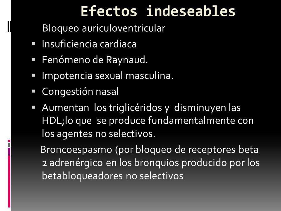 Efectos indeseables Bloqueo auriculoventricular Insuficiencia cardiaca Fenómeno de Raynaud. Impotencia sexual masculina. Congestión nasal Aumentan los