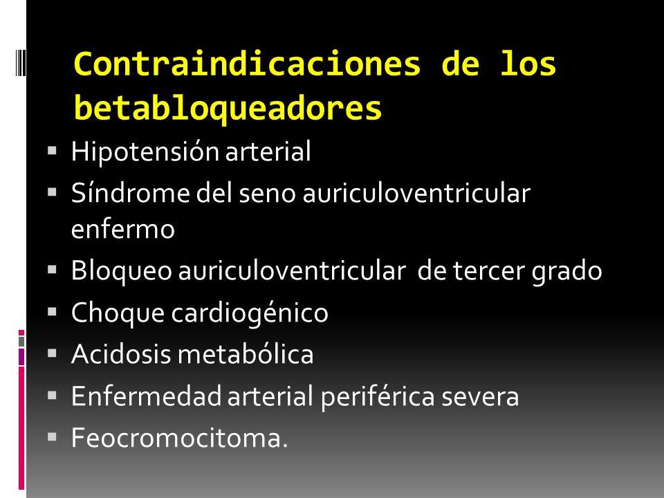 Contraindicaciones de los betabloqueadores Hipotensión arterial Síndrome del seno auriculoventricular enfermo Bloqueo auriculoventricular de tercer gr