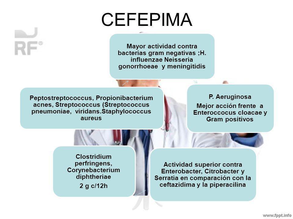 CEFEPIMA Mayor actividad contra bacterias gram negativas ;H. influenzae Neisseria gonorrhoeae y meningitidis P. Aeruginosa Mejor acción frente a Enter