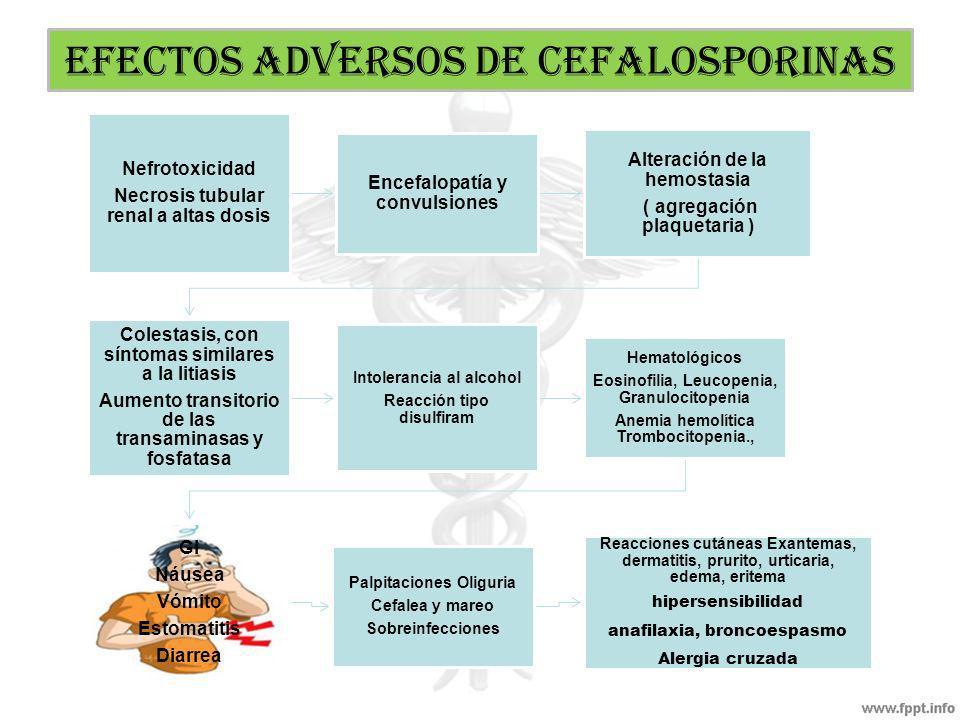 CARACTERISTICAS GENERALES Absorción por vía oral: Cefalexina (1 generación) Cefadrina (1 generación) Cefadroxil (1 generación) Cefaclor ( 2 generación) Penetran en LCR a concentraciones útiles en meningitis como ser: Cefuroxima, Cefotaxima, cefepima Penetran en placenta aparecen en el liquido sinovial y pericardio, humor acuoso y humor vitrio Cefotaxima y ceftriaxona se utilizan como tratamiento inicial de la meningitis y son excelentes en neumonía adquirida en la comunidad (neumococos, H.