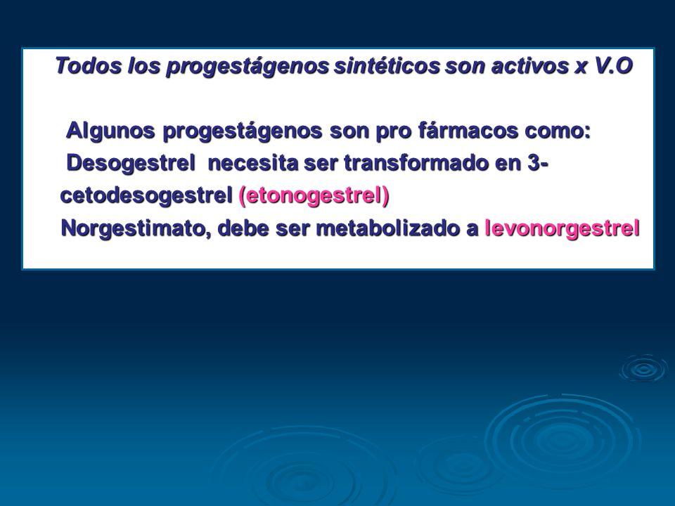 Todos los progestágenos sintéticos son activos x V.O Todos los progestágenos sintéticos son activos x V.O Algunos progestágenos son pro fármacos como:
