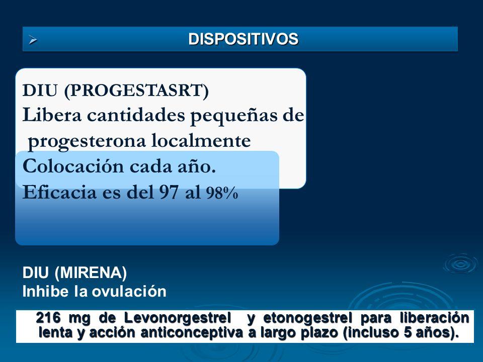 DIU (PROGESTASRT) Libera cantidades pequeñas de progesterona localmente Colocación cada año. Eficacia es del 97 al 98% DIU (MIRENA) Inhibe la ovulació