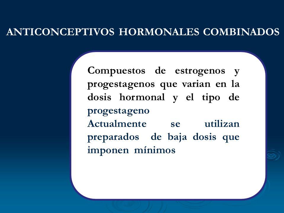 Compuestos de estrogenos y progestagenos que varian en la dosis hormonal y el tipo de progestageno Actualmente se utilizan preparados de baja dosis qu