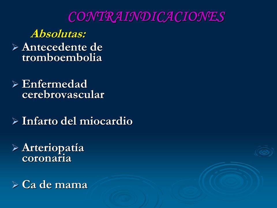 CONTRAINDICACIONES CONTRAINDICACIONES Absolutas: Absolutas: Antecedente de tromboembolia Antecedente de tromboembolia Enfermedad cerebrovascular Enfer