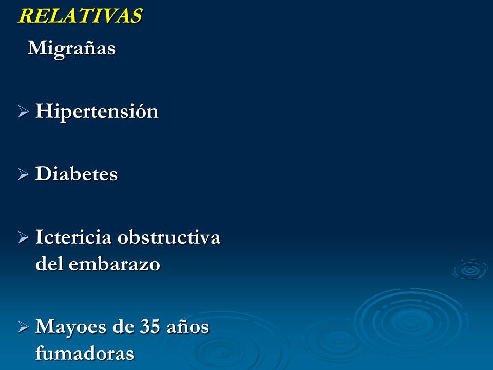 RELATIVAS Migrañas Migrañas Hipertensión Hipertensión Diabetes Diabetes Ictericia obstructiva del embarazo Ictericia obstructiva del embarazo Mayoes d