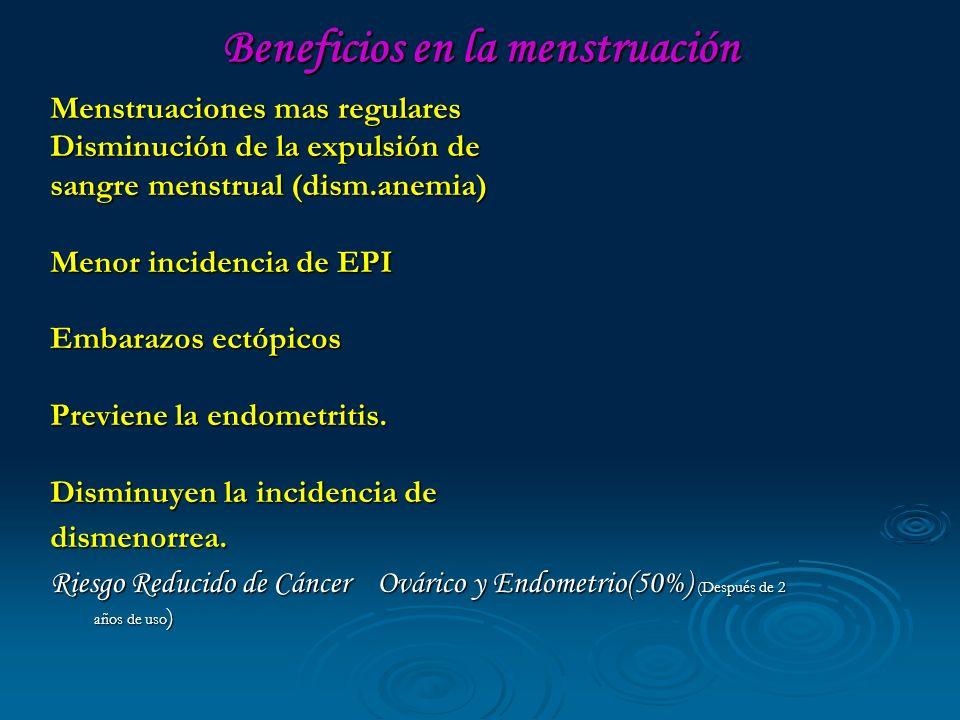 Beneficios en la menstruación Menstruaciones mas regulares Disminución de la expulsión de sangre menstrual (dism.anemia) Menor incidencia de EPI Embar