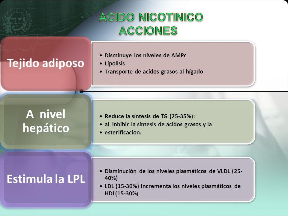 REDUCTORES MIXTOS ACIDO NICOTINICO O NIACINA Vitamina B Retarda la producción en el hígado de sustancias químicas que ayudan a producir el LDLc Reduce