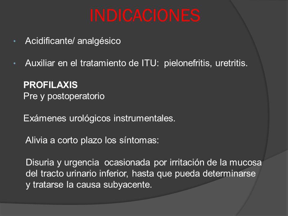 INDICACIONES Acidificante/ analgésico Auxiliar en el tratamiento de ITU: pielonefritis, uretritis. PROFILAXIS Pre y postoperatorio Exámenes urológicos