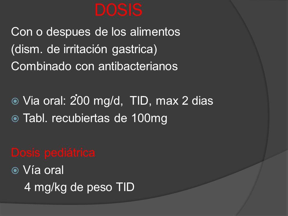 DOSIS Con o despues de los alimentos (dism. de irritación gastrica) Combinado con antibacterianos Via oral: 200 mg/d, TID, max 2 dias Tabl. recubierta