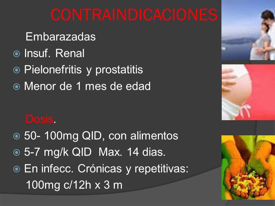 CONTRAINDICACIONES Embarazadas Insuf. Renal Pielonefritis y prostatitis Menor de 1 mes de edad Dosis. 50- 100mg QID, con alimentos 5-7 mg/k QID Max. 1