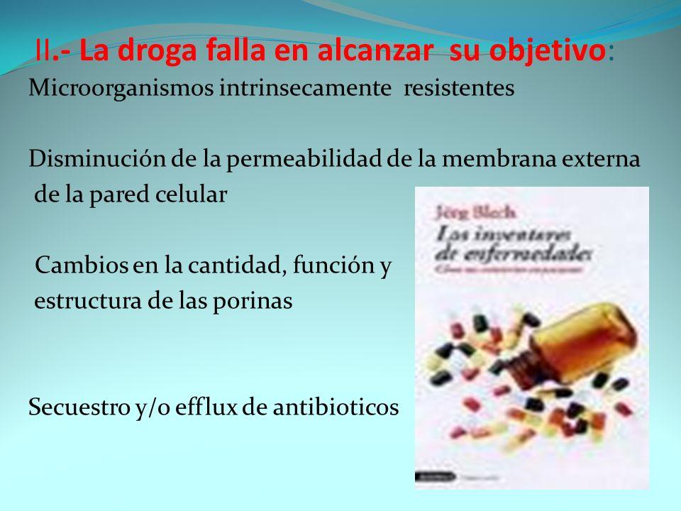 II.- La droga falla en alcanzar su objetivo: Microorganismos intrinsecamente resistentes Disminución de la permeabilidad de la membrana externa de la
