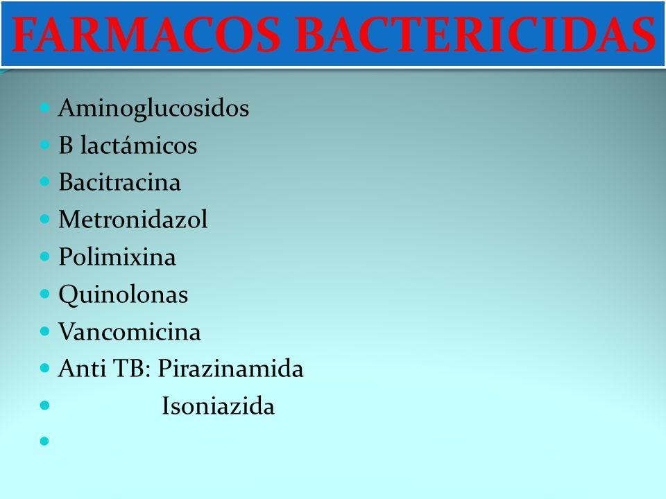 FARMACOS BACTERICIDAS Aminoglucosidos B lactámicos Bacitracina Metronidazol Polimixina Quinolonas Vancomicina Anti TB: Pirazinamida Isoniazid a FARMAC