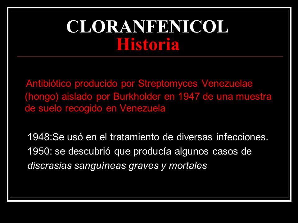 CLORANFENICOL Historia Antibiótico producido por Streptomyces Venezuelae (hongo) aislado por Burkholder en 1947 de una muestra de suelo recogido en Ve