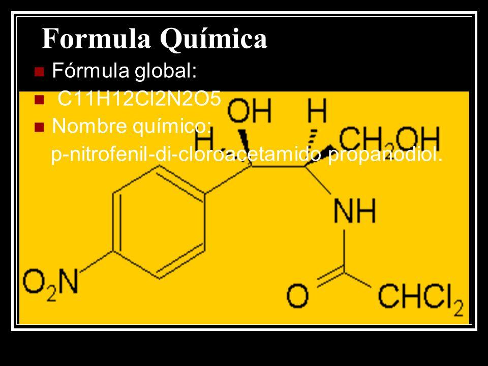 Formula Química Fórmula global: C11H12Cl2N2O5 Nombre químico: p-nitrofenil-di-cloroacetamido propanodiol.