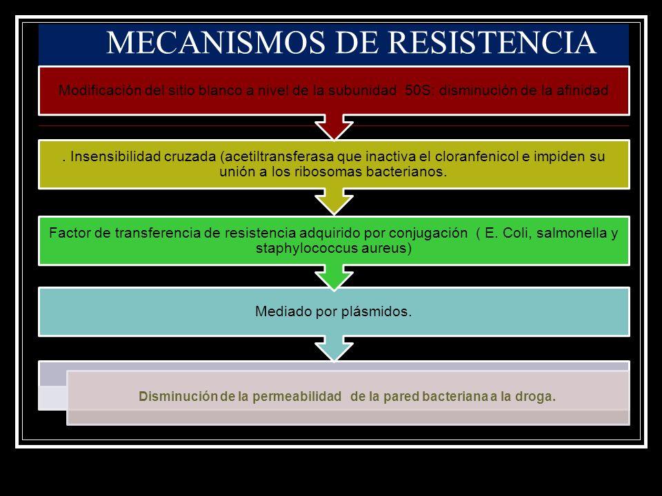 Disminución de la permeabilidad de la pared bacteriana a la droga. Mediado por plásmidos. Factor de transferencia de resistencia adquirido por conjuga
