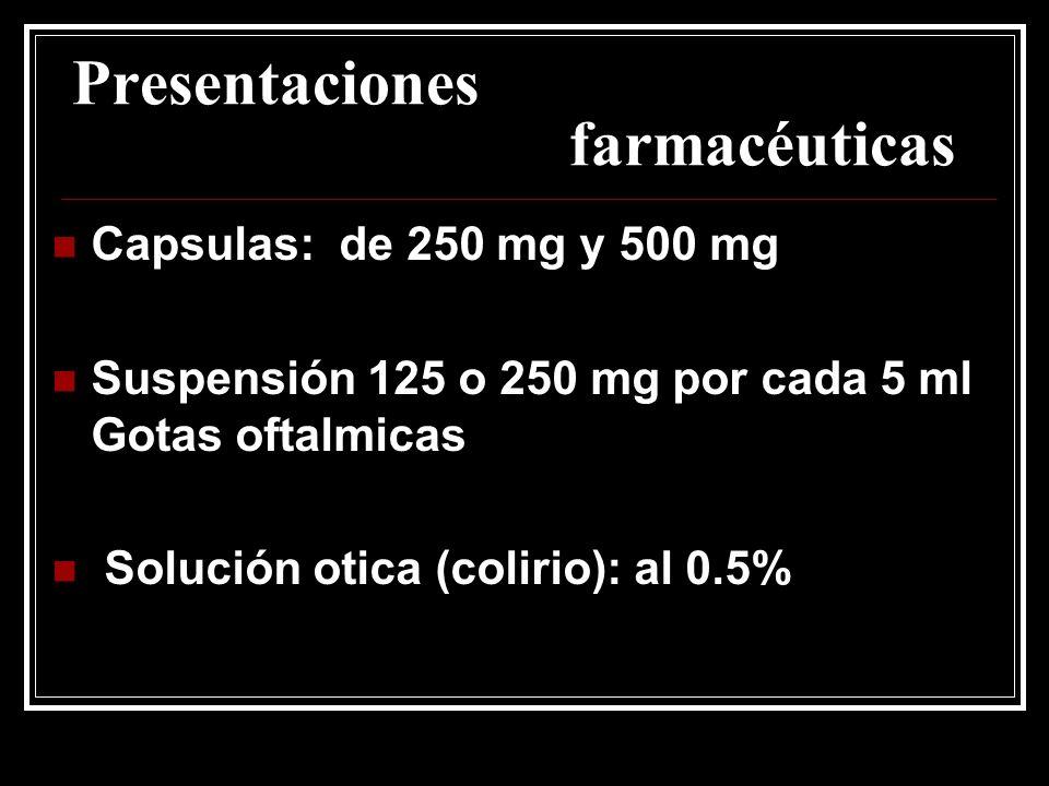 Presentaciones farmacéuticas Capsulas: de 250 mg y 500 mg Suspensión 125 o 250 mg por cada 5 ml Gotas oftalmicas Solución otica (colirio): al 0.5%