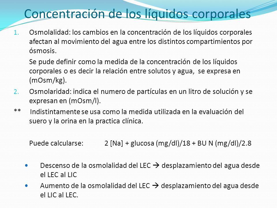 Concentración de los líquidos corporales 1. Osmolalidad: los cambios en la concentración de los líquidos corporales afectan al movimiento del agua ent