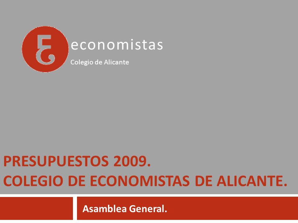 PRESUPUESTOS 2009. COLEGIO DE ECONOMISTAS DE ALICANTE. Asamblea General. economistas Colegio de Alicante