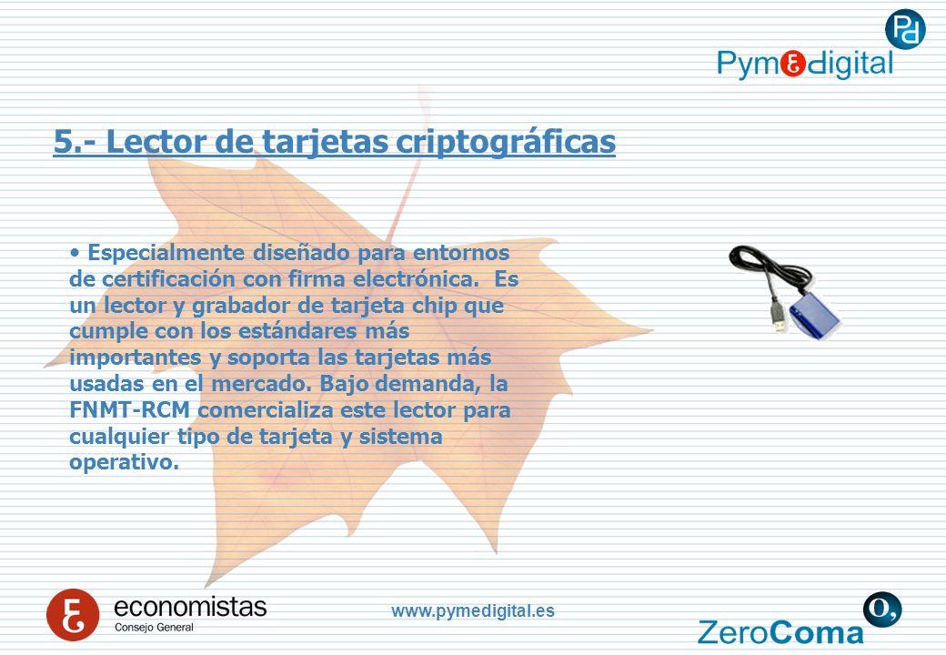 www.pymedigital.es 5.- Lector de tarjetas criptográficas Especialmente diseñado para entornos de certificación con firma electrónica.