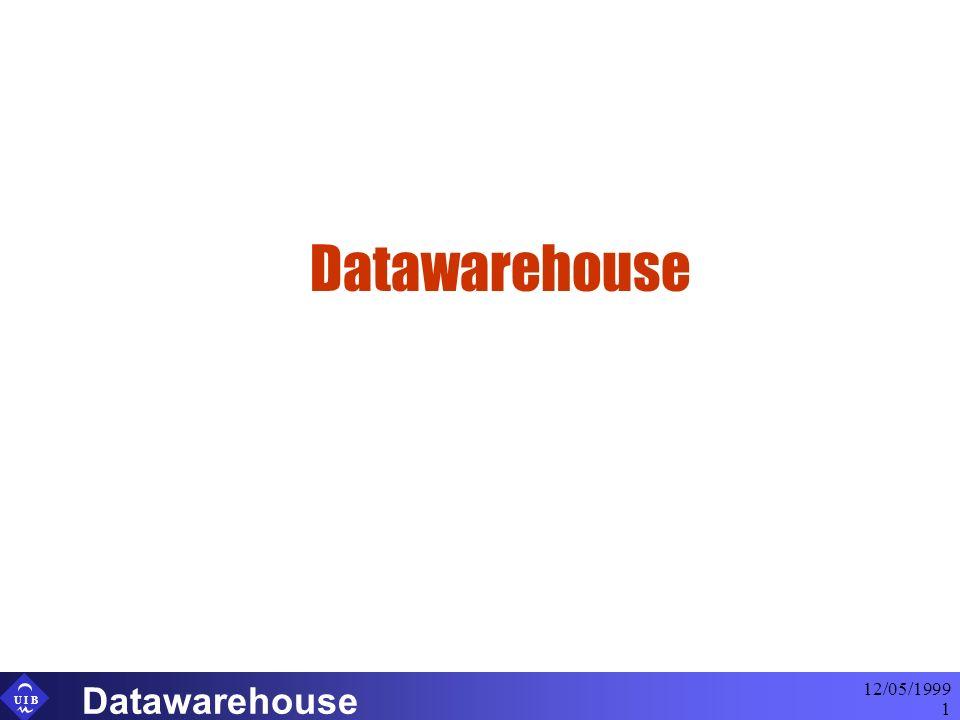 U I B 12/05/1999 Datawarehouse 2 Conceptos Datawarehouse Datawarehouse: Repositorio completo de datos de la empresa, donde se almacenan datos estratégicos, tácticos y operativos, al objeto de obtener información estratégica y táctica Data-Mars: Repositorio parcial de datos de la empresa, donde se almacenan datos tácticos y operativos, al objeto de obtener información táctica Data-Mining: Técnicas de análisis de datos encaminadas a obtener información oculta en un Datawarehouse