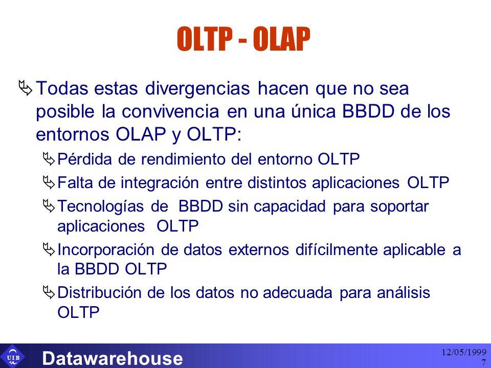 U I B 12/05/1999 Datawarehouse 7 OLTP - OLAP Todas estas divergencias hacen que no sea posible la convivencia en una única BBDD de los entornos OLAP y OLTP: Pérdida de rendimiento del entorno OLTP Falta de integración entre distintos aplicaciones OLTP Tecnologías de BBDD sin capacidad para soportar aplicaciones OLTP Incorporación de datos externos difícilmente aplicable a la BBDD OLTP Distribución de los datos no adecuada para análisis OLTP