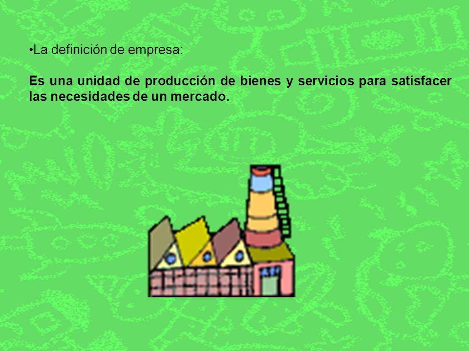 La definición de empresa: Es una unidad de producción de bienes y servicios para satisfacer las necesidades de un mercado.