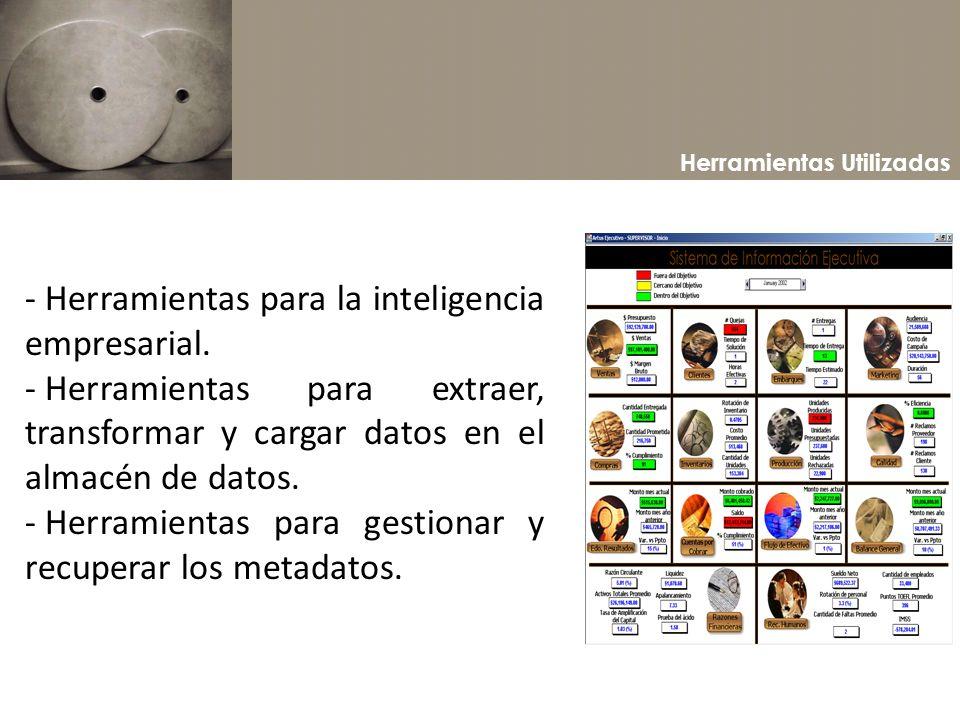 Herramientas Utilizadas - Herramientas para la inteligencia empresarial. - Herramientas para extraer, transformar y cargar datos en el almacén de dato