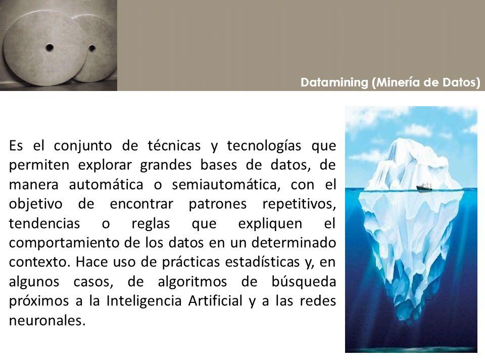 Datamining (Minería de Datos) Es el conjunto de técnicas y tecnologías que permiten explorar grandes bases de datos, de manera automática o semiautomá