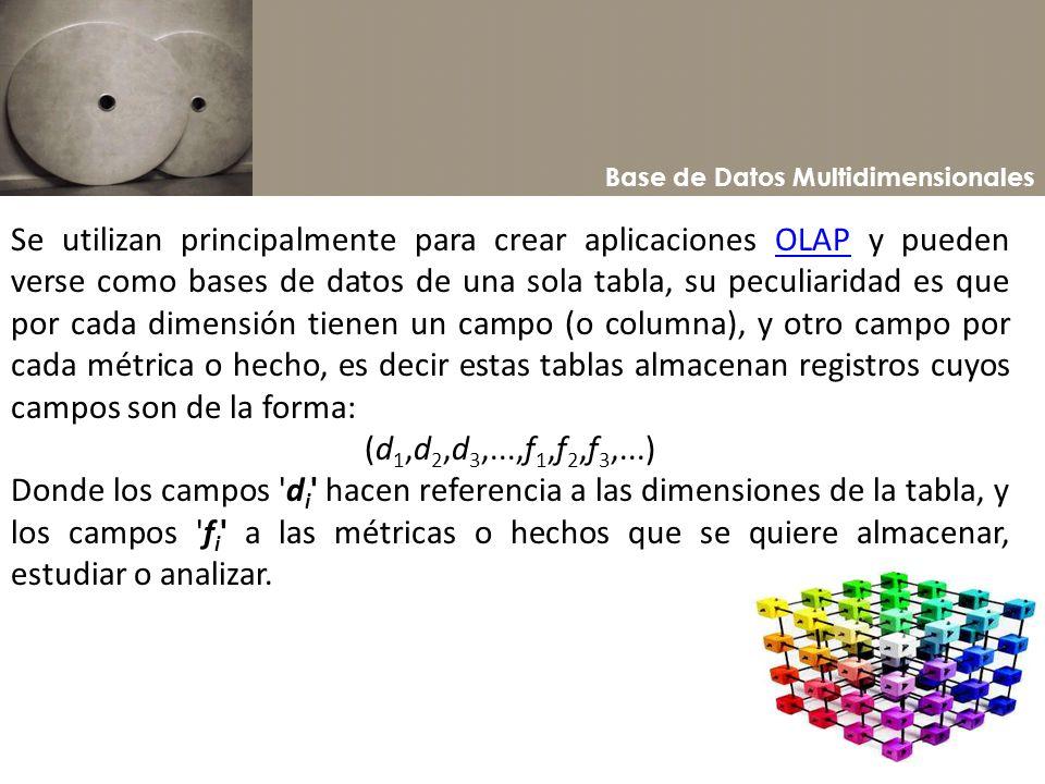 Base de Datos Multidimensionales Se utilizan principalmente para crear aplicaciones OLAP y pueden verse como bases de datos de una sola tabla, su pecu