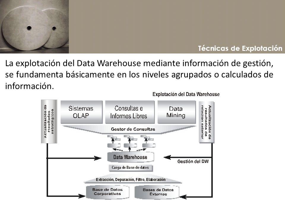 Técnicas de Explotación La explotación del Data Warehouse mediante información de gestión, se fundamenta básicamente en los niveles agrupados o calcul