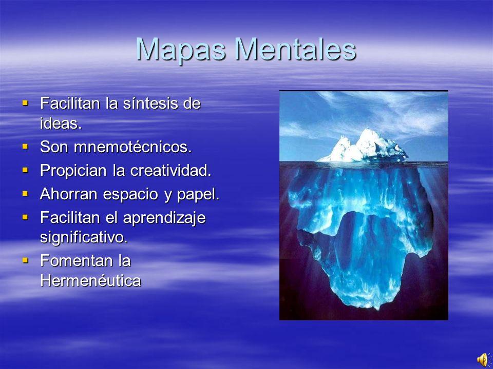 Mapas Mentales Facilitan la síntesis de ideas. Son mnemotécnicos. Propician la creatividad. Ahorran espacio y papel. Facilitan el aprendizaje signific