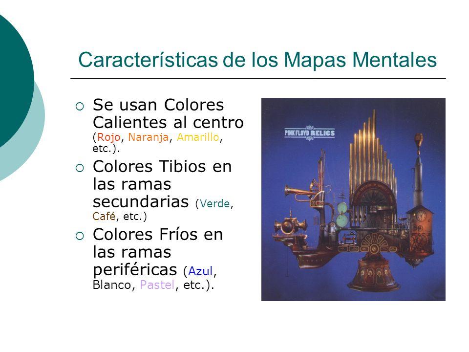 Características de los Mapas Mentales Se usan Colores Calientes al centro (Rojo, Naranja, Amarillo, etc.). Colores Tibios en las ramas secundarias (Ve