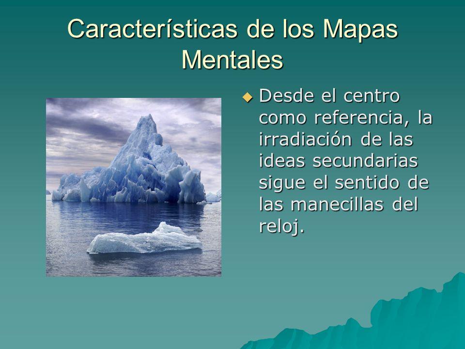 Características de los Mapas Mentales Desde el centro como referencia, la irradiación de las ideas secundarias sigue el sentido de las manecillas del