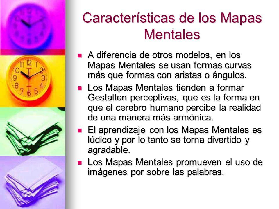 A diferencia de otros modelos, en los Mapas Mentales se usan formas curvas más que formas con aristas o ángulos. A diferencia de otros modelos, en los