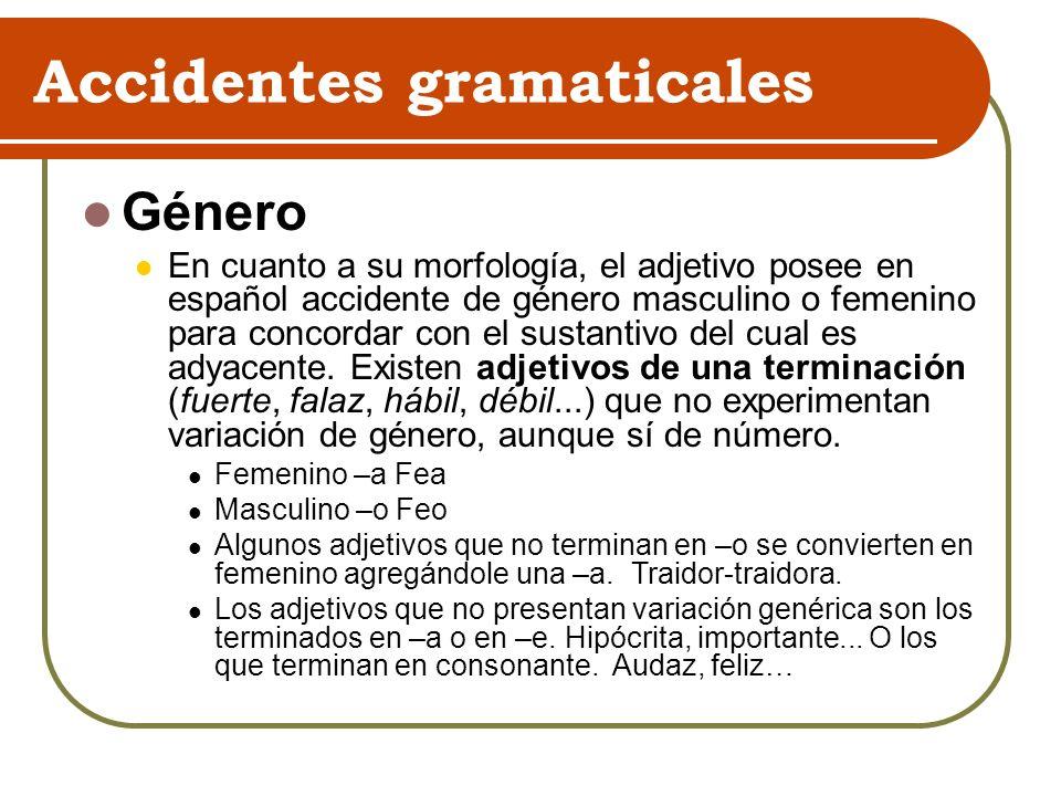 Accidentes gramaticales Género En cuanto a su morfología, el adjetivo posee en español accidente de género masculino o femenino para concordar con el