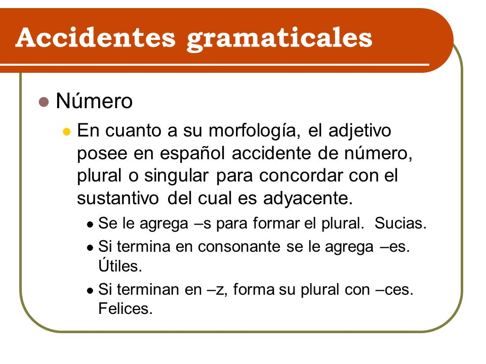 Accidentes gramaticales Número En cuanto a su morfología, el adjetivo posee en español accidente de número, plural o singular para concordar con el su