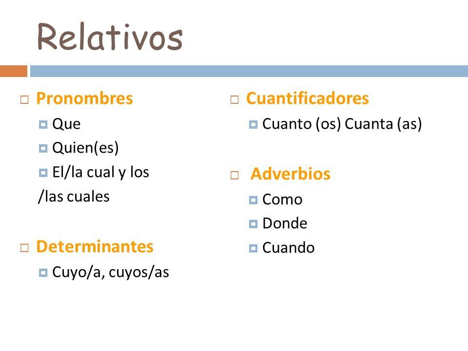 Pronombres Que Quien(es) El/la cual y los /las cuales Determinantes Cuyo/a, cuyos/as Cuantificadores Cuanto (os) Cuanta (as) Adverbios Como Donde Cuan
