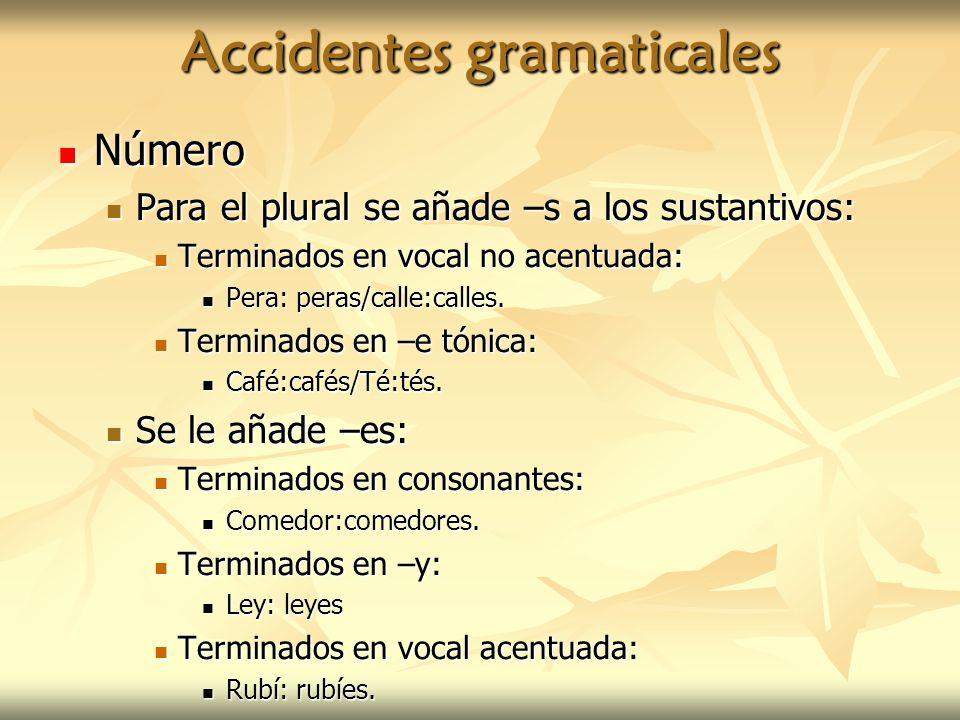Accidentes gramaticales Número Número Para el plural se añade –s a los sustantivos: Para el plural se añade –s a los sustantivos: Terminados en vocal
