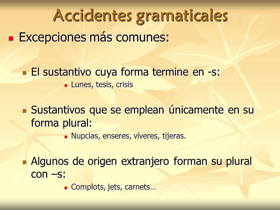 Accidentes gramaticales Excepciones más comunes: Excepciones más comunes: El sustantivo cuya forma termine en -s: El sustantivo cuya forma termine en